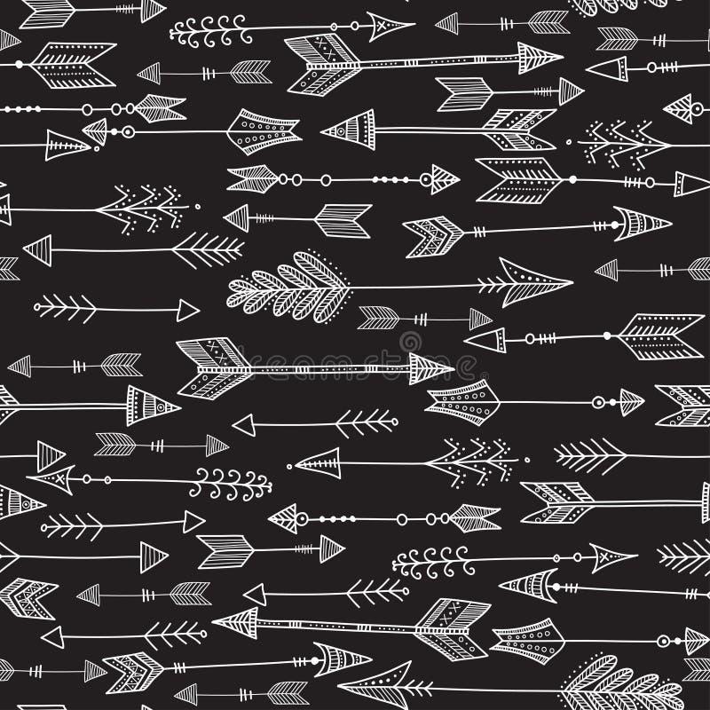Vector o teste padrão étnico preto e branco sem emenda com seta tribal ilustração stock