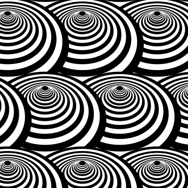 Vector o teste padrão ótico da parte superior de giro com multiplicam a repetição de círculos preto e branco ilustração stock