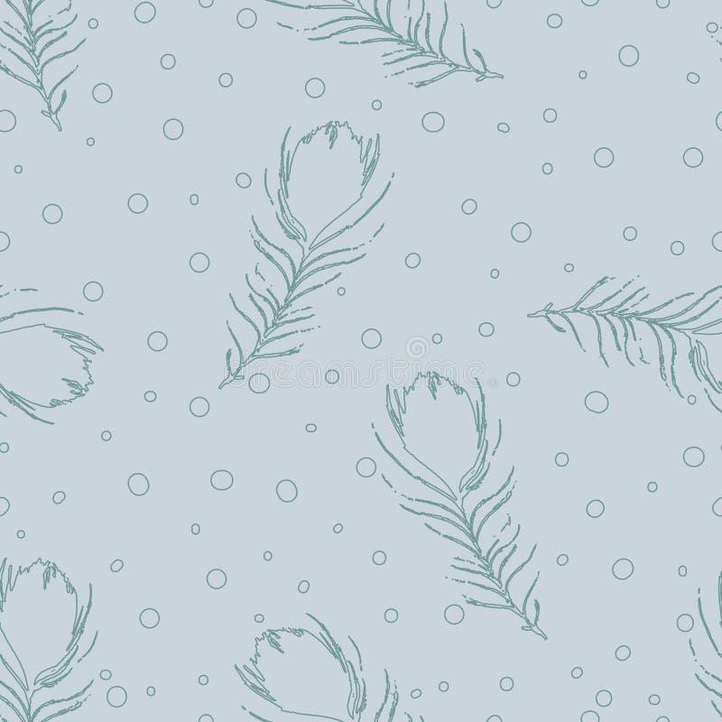 Vector o teste padrão abstrato sem emenda com penas e pontos do pavão ilustração stock