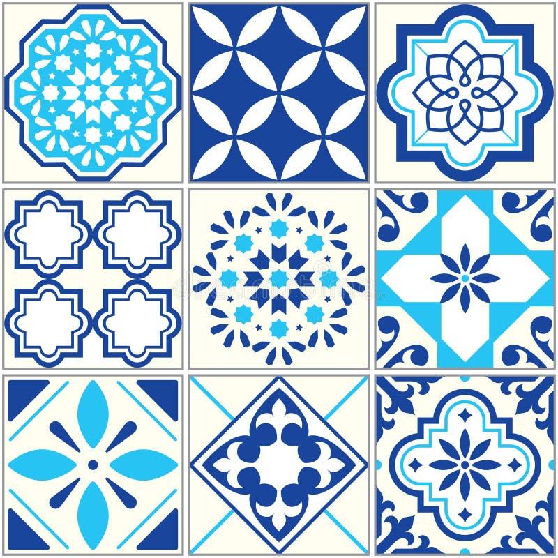 Vector o teste padrão azul das telhas, mosaico floral de Lisboa, ornamento sem emenda mediterrâneo - Azulejos ilustração do vetor