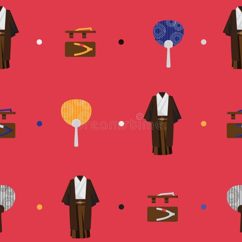 Vector o teste padrão brilhante sem emenda com objetos lisos da forma japonesa Equipe o quimono, geta tradicional de madeira, uti ilustração royalty free