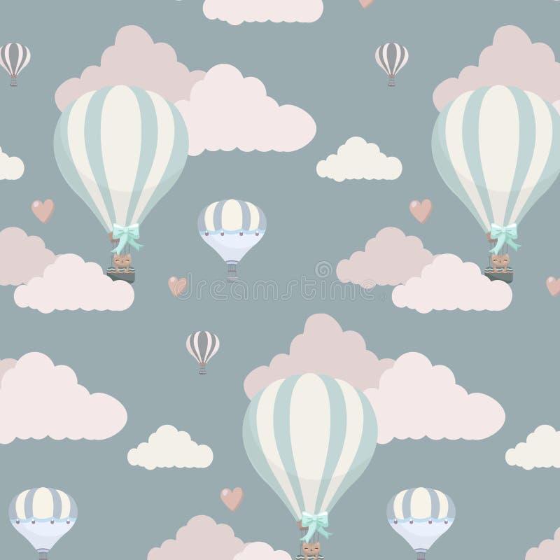 Vector o teste padrão com balão, nuvens e animais ilustração royalty free