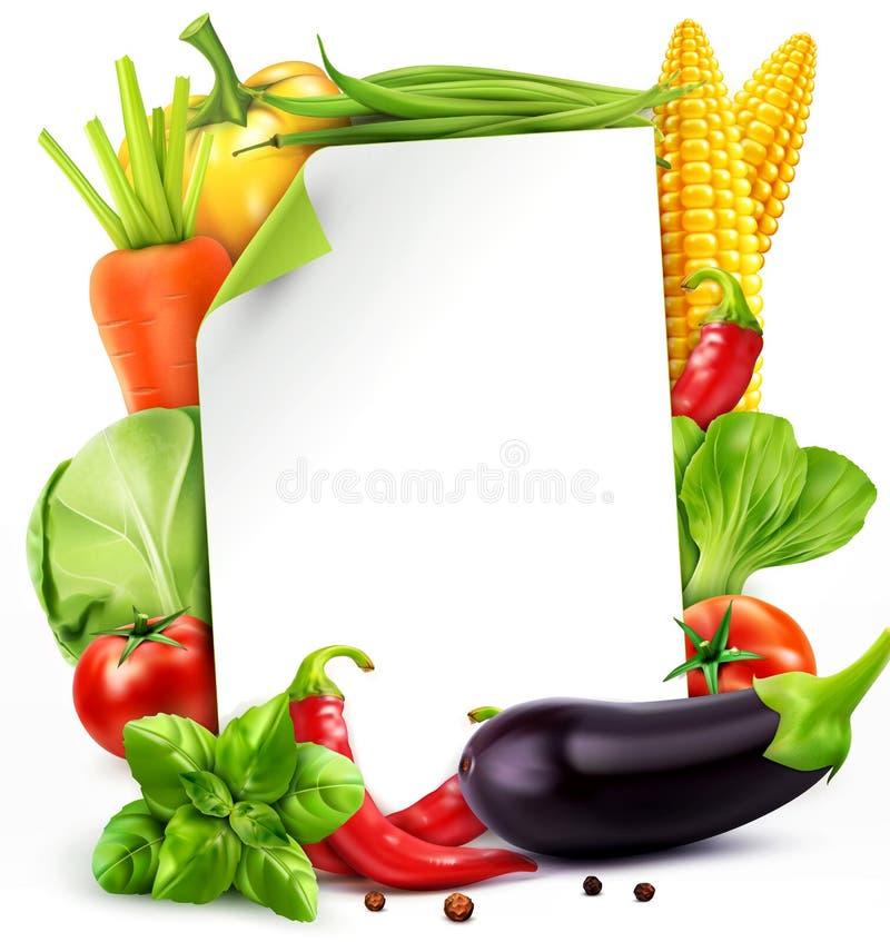 Vector o teste padrão com cenouras dos vegetais, couve do menu, manjericão, a ilustração do vetor