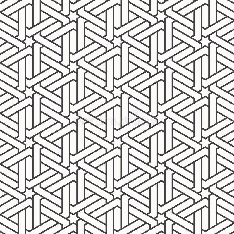 Vector o teste padrão com entrelaçamento de linhas finas na forma do hexágono ilustração stock
