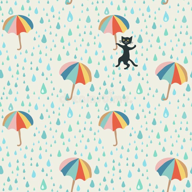 Vector o teste padrão da garatuja com gota da chuva, os guarda-chuvas de voo e o gato preto pernicioso Teste padrão abstrato boni ilustração royalty free