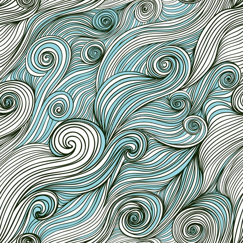 Vector o teste padrão desenhado à mão da onda sem emenda, fundo das ondas (seaml ilustração stock