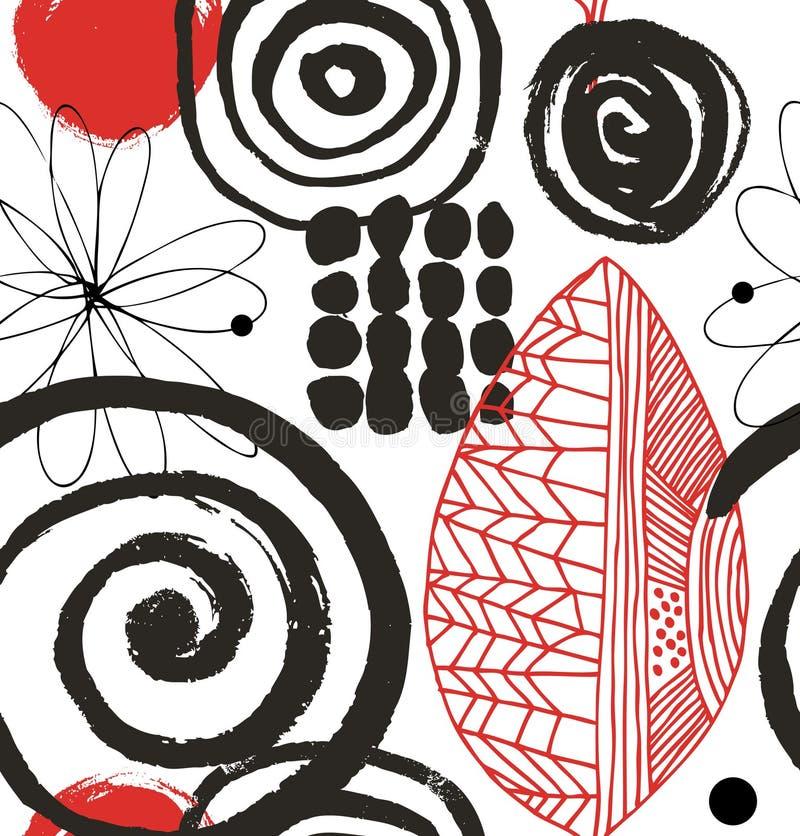 Vector o teste padrão do desenho com tinta decorativa elementos tirados Fundo abstrato de Grunge ilustração royalty free