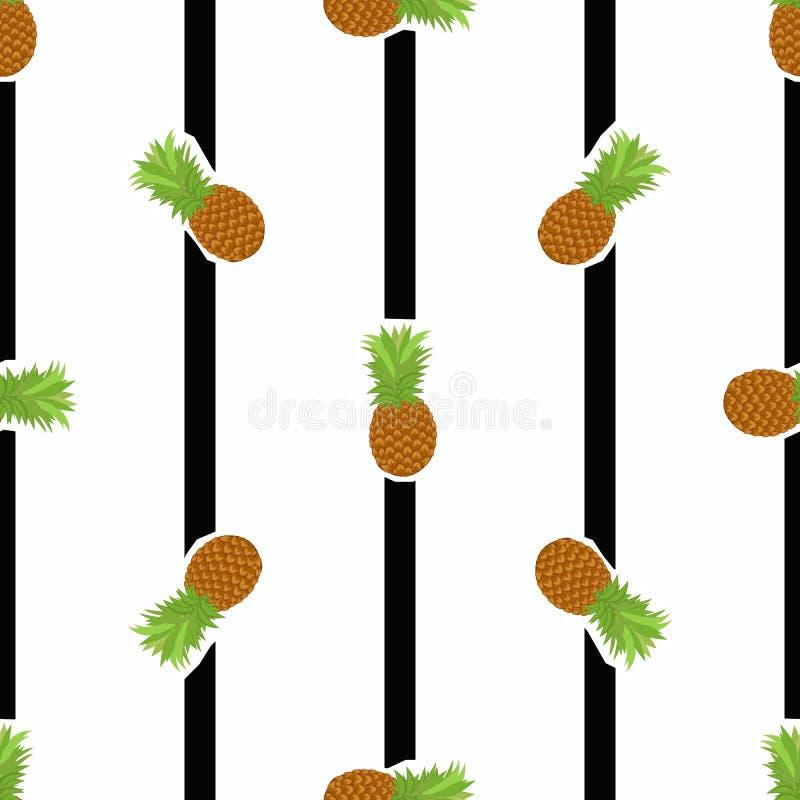 Vector o teste padrão do verão com abacaxi e as listras preto e branco ilustração stock