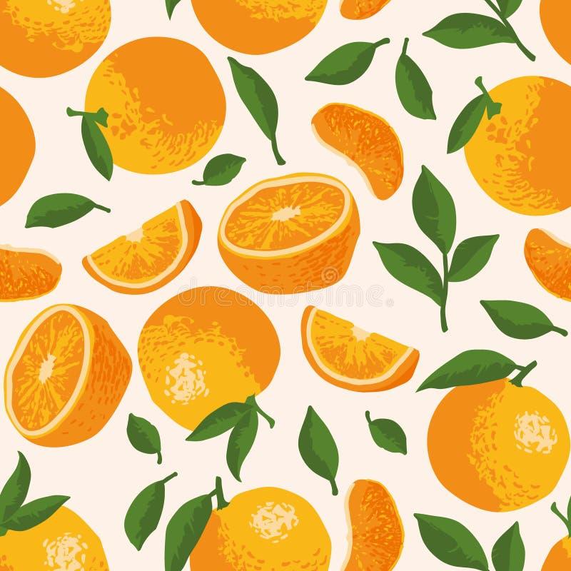 Vector o teste padrão do verão com laranjas, flores e folhas Projeto sem emenda da textura ilustração stock