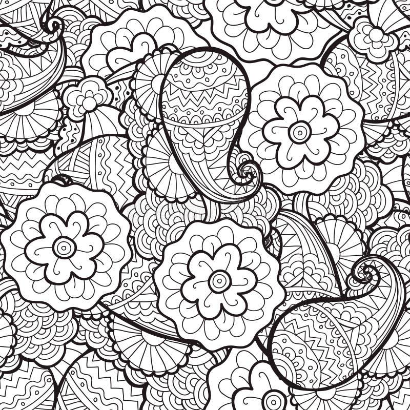 Vector o teste padrão floral abstrato sem emenda, tela, fundo Preto e branco, colorindo ilustração do vetor