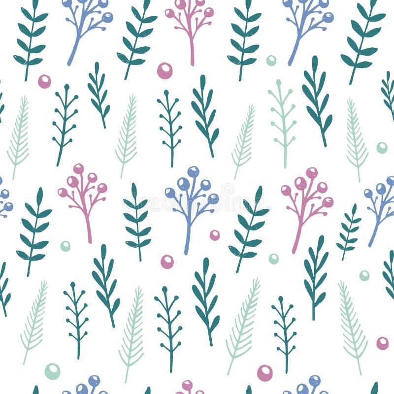 Vector o teste padrão floral com flores e as folhas handdrawn ilustração stock