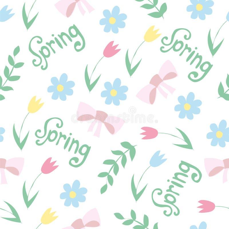 Vector o teste padrão floral no estilo da garatuja com flores e folhas Fundo da mola ilustração royalty free