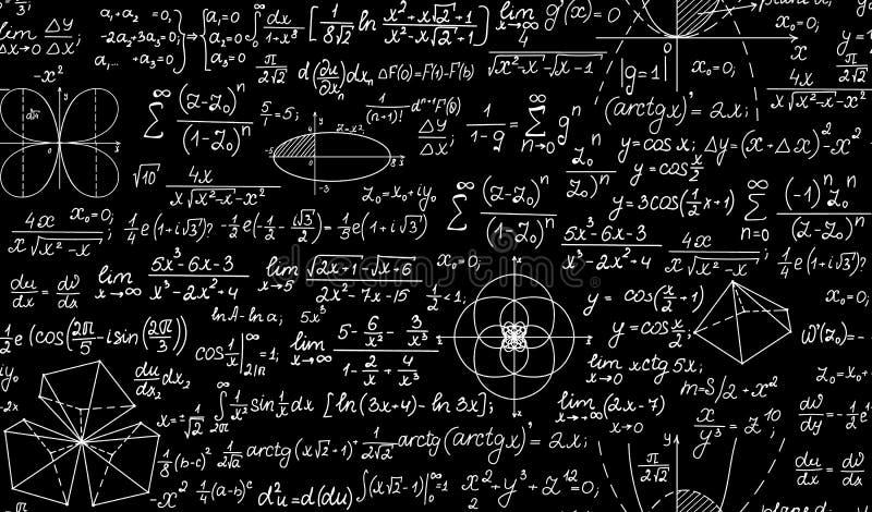 Vector o teste padrão infinito da matemática com fórmulas, figuras e lotes escritos à mão Textura infinita ilustração royalty free