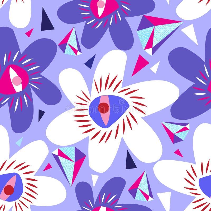 Vector o teste padrão lilás sem emenda brilhante das flores diferentes ilustração royalty free