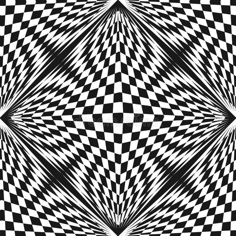 Vector o teste padrão quadriculado abstrato, efeito da ilusão ótica ilustração stock