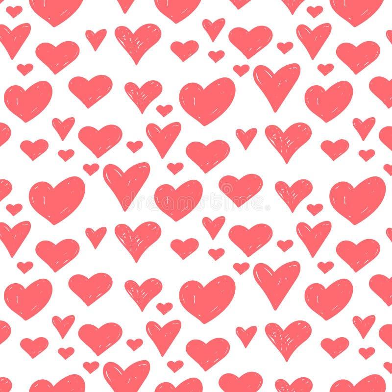 Vector o teste padrão retro sem emenda, às bolinhas com corações Pode ser usado para o papel de parede, suficiências de teste pad ilustração do vetor