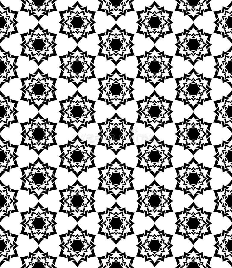 Vector o teste padrão sagrado sem emenda moderno floral, sumário preto e branco da geometria ilustração do vetor
