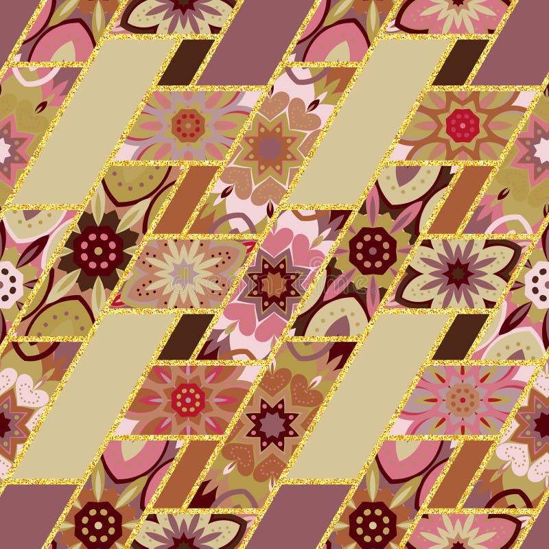 Vector o teste padrão sem emenda abstrato dos retalhos com geométrico e os ornamento florais, flores estilizados, pontos atam vin ilustração stock