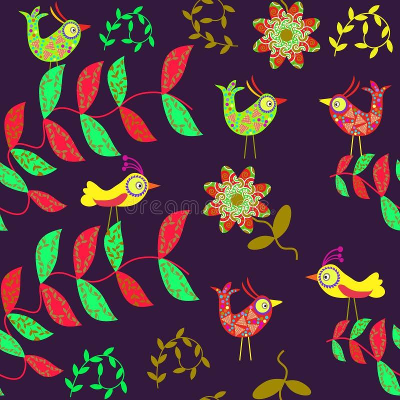 Vector o teste padrão sem emenda bonito com pássaro dos desenhos animados e ilustração stock
