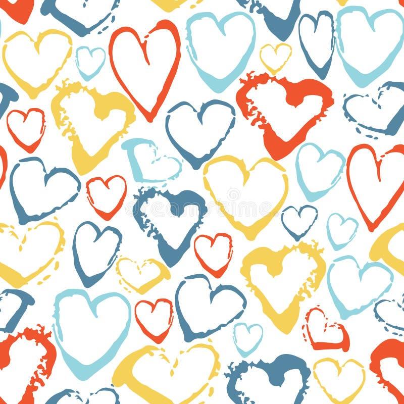 Vector o teste padrão sem emenda colorido com corações dos cursos da escova Fantasia do verão Cor do arco-íris no fundo branco Mã ilustração stock