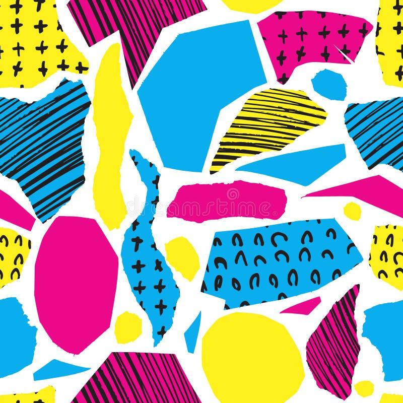 Vector o teste padrão sem emenda colorido com cursos e cruz da escova Cor preta amarela azul cor-de-rosa no fundo branco Mão ilustração royalty free
