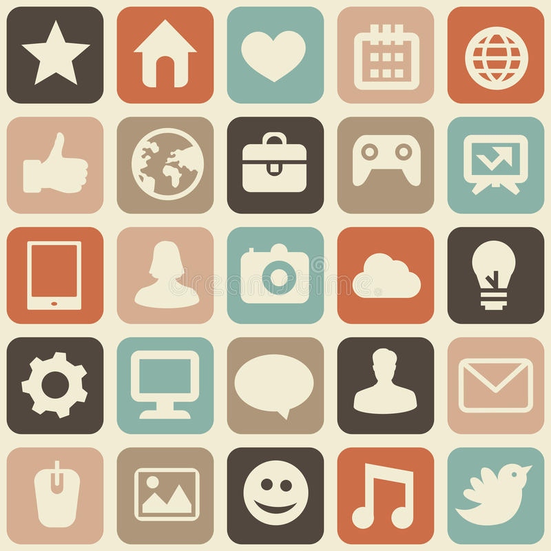Vector o teste padrão sem emenda com ícones sociais dos media ilustração do vetor