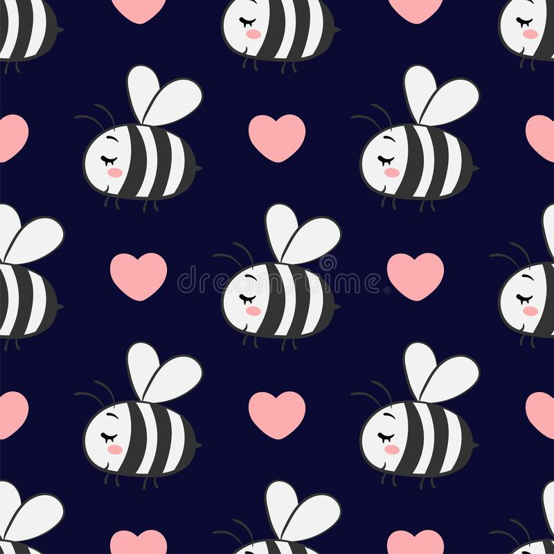 Vector o teste padrão sem emenda com as abelhas no amor em um fundo escuro ilustração stock
