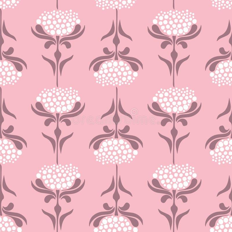 Vector o teste padrão sem emenda com as flores retros do estilo no fundo cor-de-rosa Fundo floral do laço ilustração do vetor