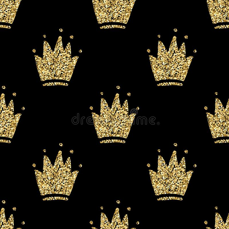 Vector o teste padrão sem emenda com as silhuetas douradas tiradas mão das coroas ilustração royalty free
