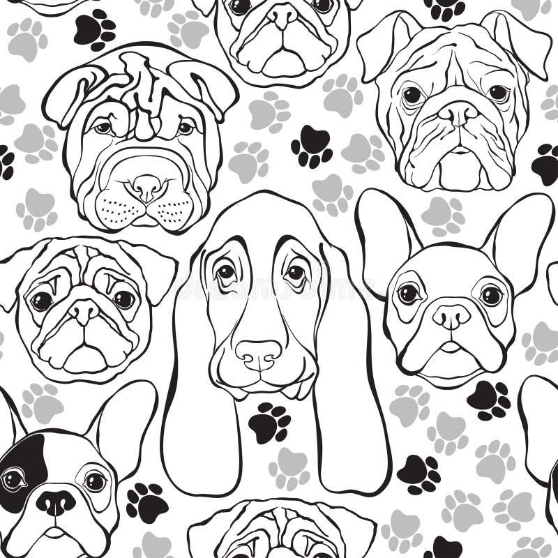Vector o teste padrão sem emenda com cães e traços das caras B monocromático ilustração do vetor