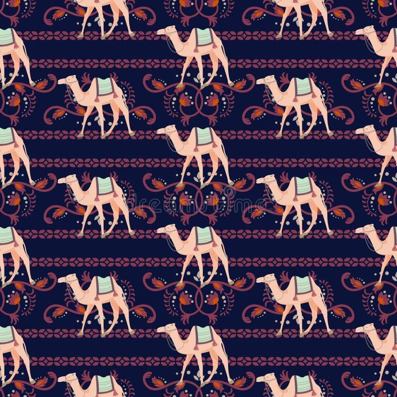 Vector o teste padrão sem emenda com camelos e motivos decorativos orientais ilustração royalty free