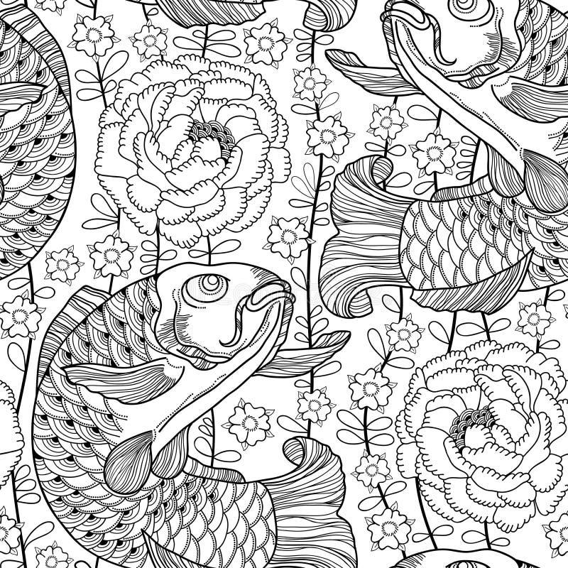 Vector o teste padrão sem emenda com a carpa e o crisântemo do koi do preto do esboço ou a dália no fundo branco Peixes ornamenta ilustração stock