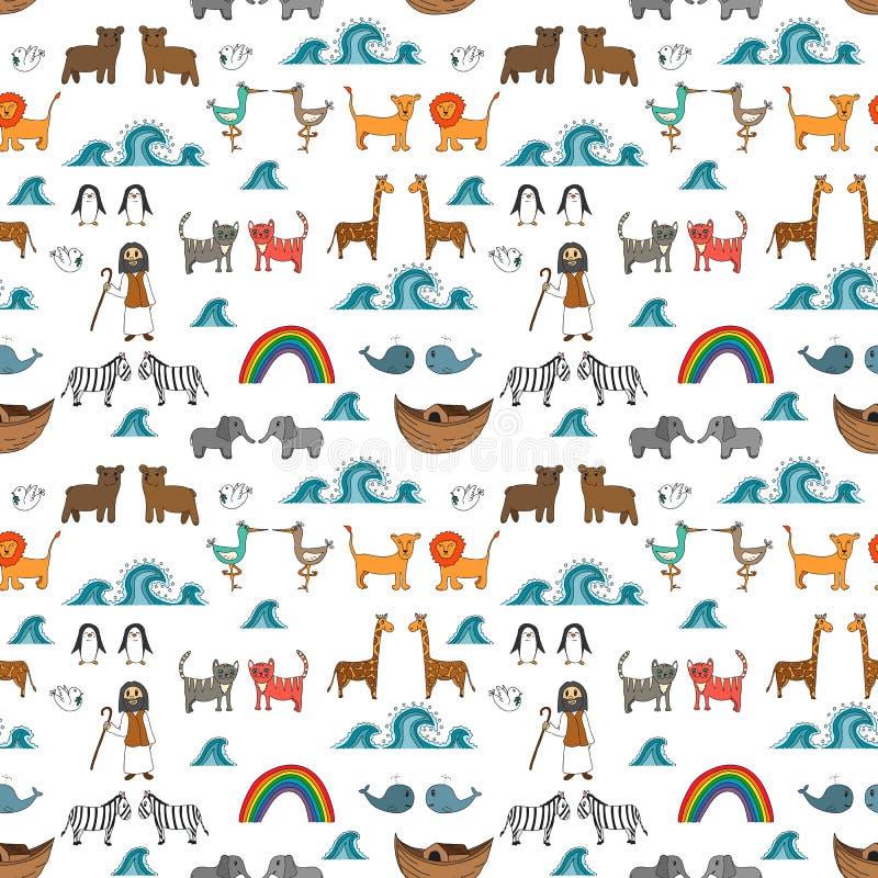 Vector o teste padrão sem emenda com conceito da arca do ` s de Noah ilustração stock