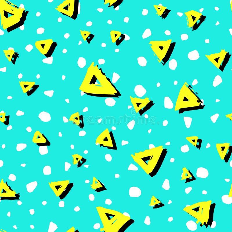 Vector o teste padrão sem emenda com cor preta branca do amarelo dos triângulos da escova no fundo azul Textura pintado à mão da  ilustração royalty free