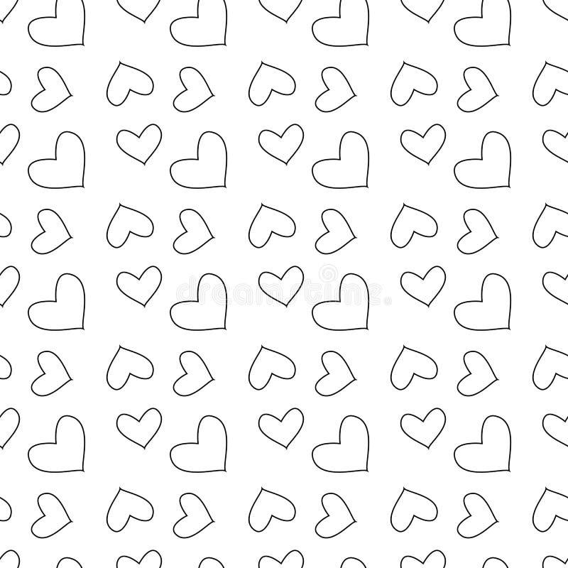 Vector o teste padrão sem emenda com corações Repetindo telhas geométricas com fundo monocromático estilizado ilustração stock