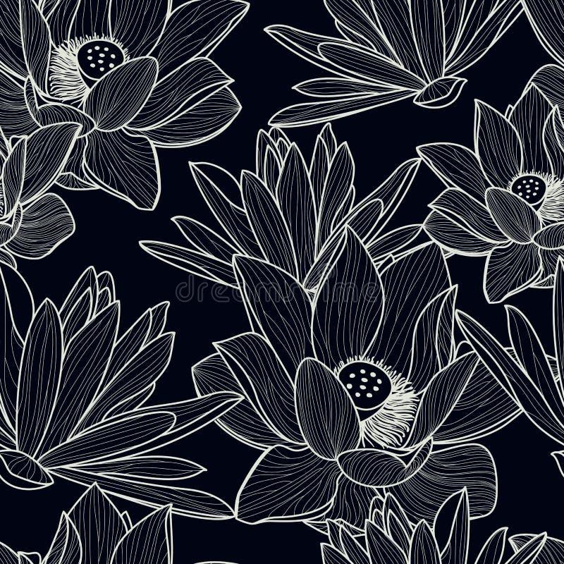 Vector o teste padrão sem emenda com a flor de lótus bonita tirada mão ilustração stock