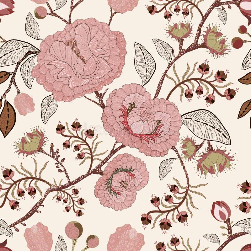Vector o teste padrão sem emenda com flores estilizados e plantas Estilo decorativo Papel de parede floral desenhado mão Contexto ilustração do vetor