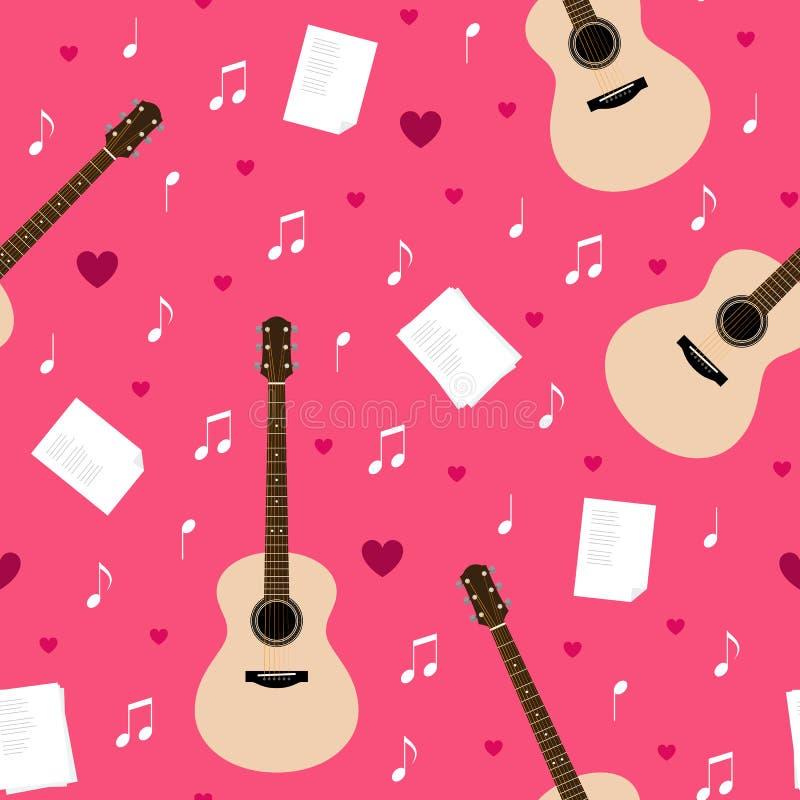 Vector o teste padrão sem emenda com guitarra, poemas líricos, notas e corações ilustração do vetor