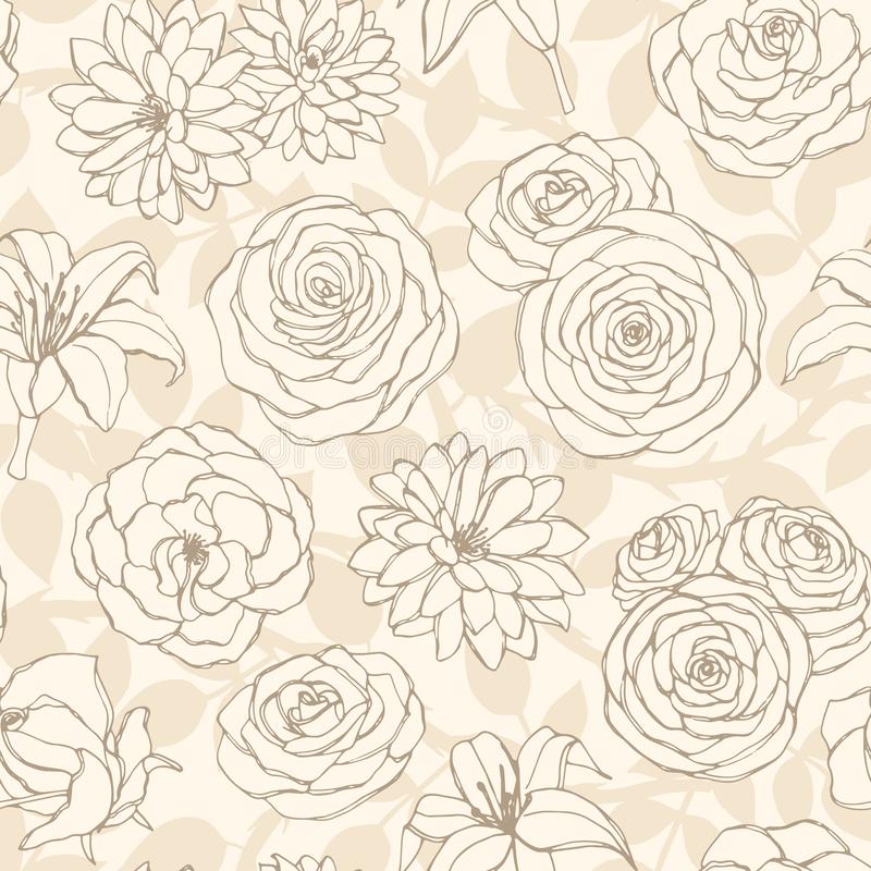 Vector o teste padrão sem emenda com lírio, o crisântemo, a camélia, a peônia e a linha cor-de-rosa arte das flores no fundo bege ilustração do vetor