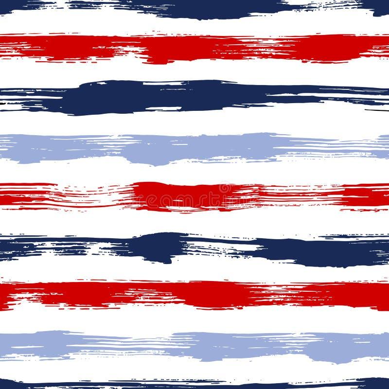 Vector o teste padrão sem emenda com listras e cursos da escova cor vermelha azul no fundo branco Textura pintado à mão da granja ilustração royalty free