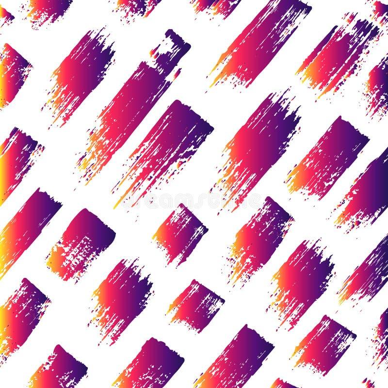 Vector o teste padrão sem emenda com listras e cursos da escova Cor violeta amarela do inclinação no fundo branco Pintado à mão ilustração do vetor