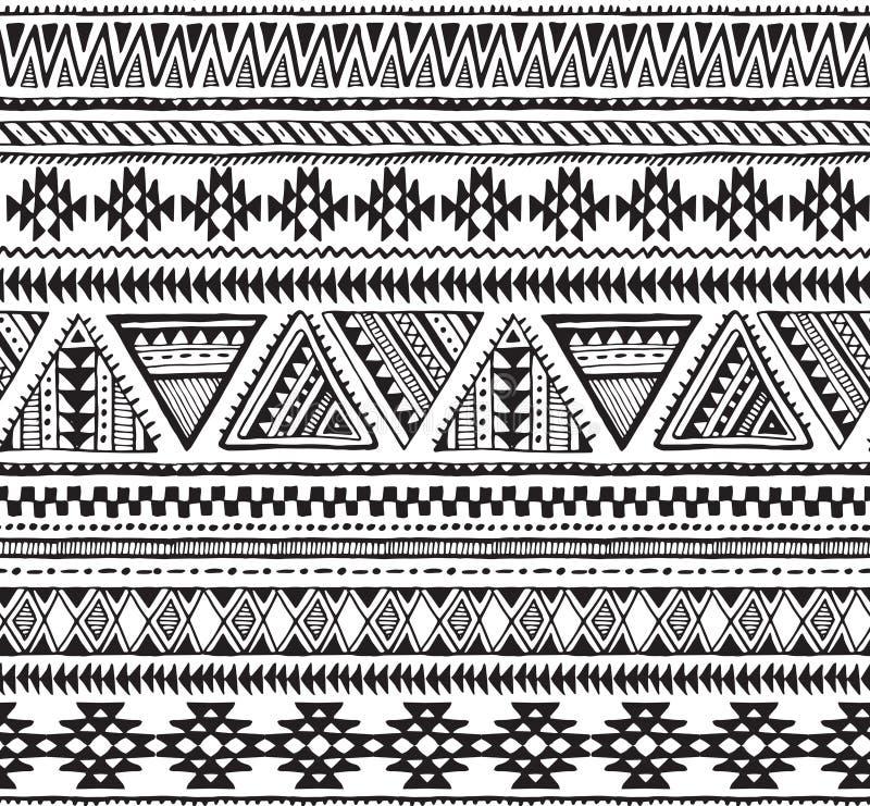 Vector o teste padrão sem emenda com mão preto e branco elementos étnicos tirados ilustração royalty free