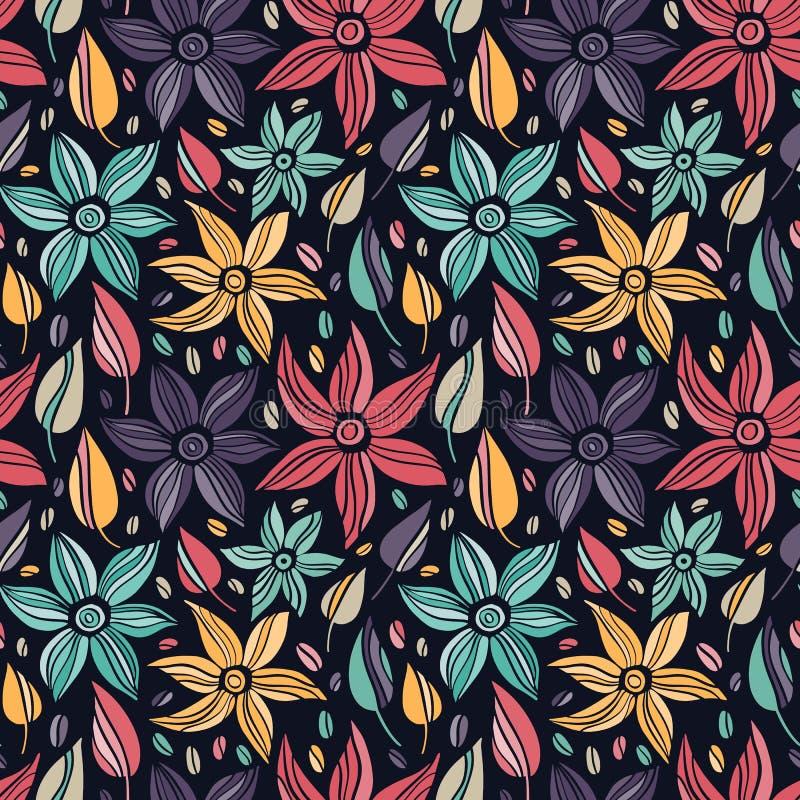 Vector o teste padrão sem emenda com a mão que tira flores selvagens, ilustração botânica colorida, elementos florais, mão tirada ilustração royalty free