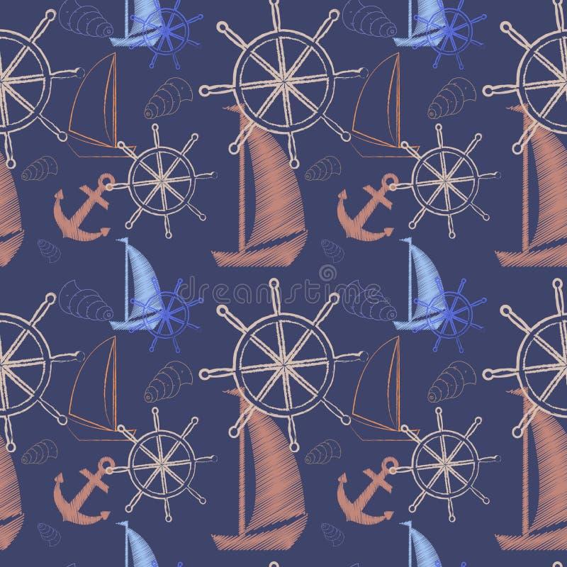 Vector o teste padrão sem emenda com navios, roda do mar do ` s do navio, âncora Cópia dos desenhos animados Ilustração do vetor ilustração stock