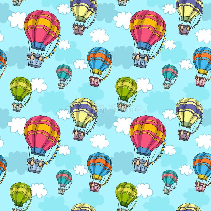 Vector o teste padrão sem emenda com o balão de ar colorido no céu ilustração stock