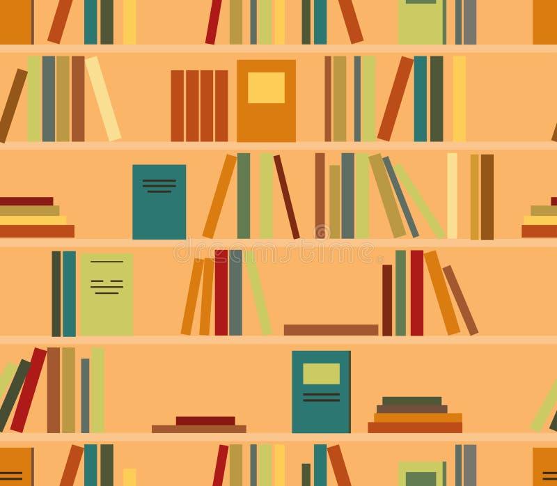 Vector o teste padrão sem emenda com o livro colorido em prateleiras ilustração do vetor