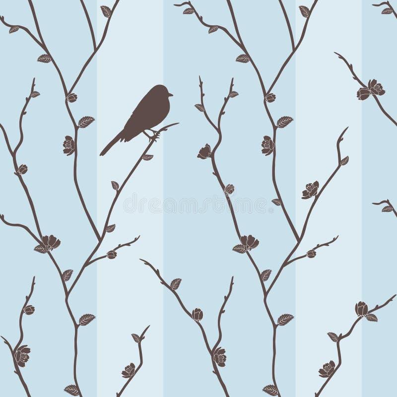 Vector o teste padrão sem emenda com o pássaro em sakura ilustração stock