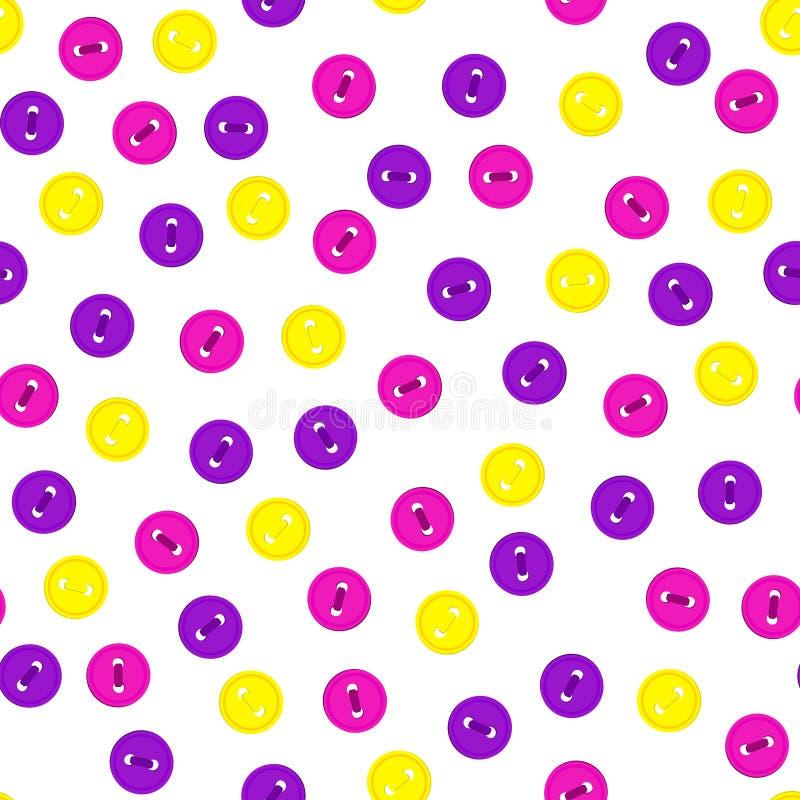 Vector o teste padrão sem emenda com os botões magentas coloridos violetas, amarelos e da rosa da cor no fundo branco Para temáti ilustração royalty free