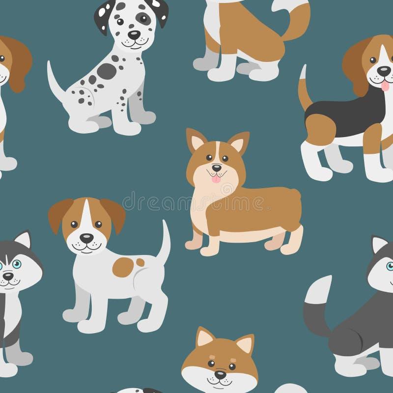 Vector o teste padrão sem emenda com os cachorrinhos bonitos do cão dos desenhos animados ilustração do vetor