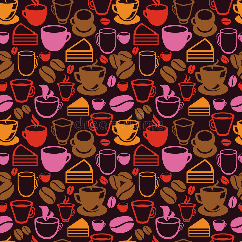 Vector o teste padrão sem emenda com os copos do chá e de café ilustração do vetor
